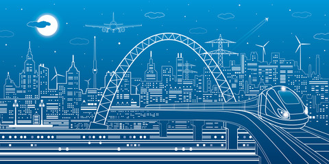 Industrial and transportation illustration, train rides on the bridge, urban skyline, white lines landscape on blue background, night city, airplane fly, vector design art