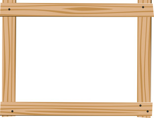 Horizontal frame of four bright wooden planks with empty space for text on white background