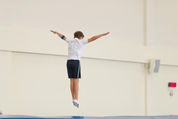 Gomel, Belarus - 12 November 2016: Sports competitions in acrobatics among boys and girls born in 2005-2006