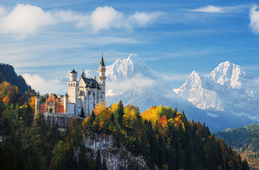 Famous Neuschwanstein Castle with scenic mountain landscape near Füssen, Bavaria, Germany Wall mural