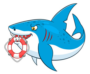 Cartoon shark with lifeline