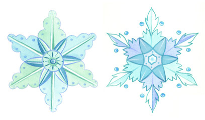 Snowflakes watercolor winter illustration. Elegnant Xmas decorative elements. Hand painted clip arts isolated on white background.