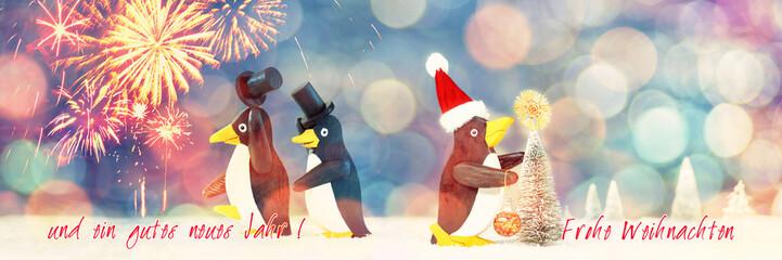 Weihnachten, Neujahr, Pinguine, Klappkarte