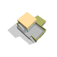 Modern house. Isolated on white. 3d Vector illustration.Top view
