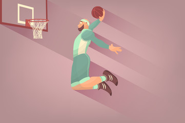 Comic basketball player with ball in flat. Cartoon picture