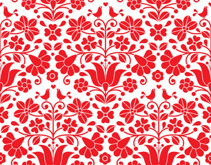 Kalocsai red floral emrboidery seamless pattern - Hungarian folk art background