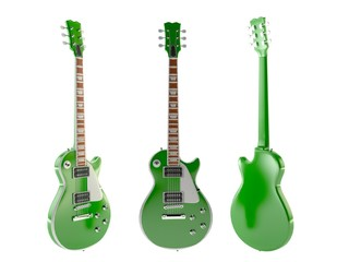 Green 3d render guitar isolated