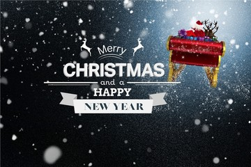 Flying Santa Sleigh and Christmas Message on Snowy Background De