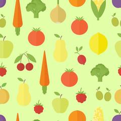 Fruits seamless pattern in flat