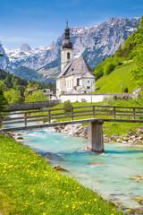 Fototapete - Church of Ramsau, Bavaria, Germany