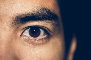 Close up to shocked brown eyes asia man.Vintage or retro tone.