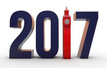 3D Illustration of number 2017 with Big Ben