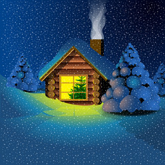 Happy new year 2017 card with a wooden house, pine tree, snow and smoke