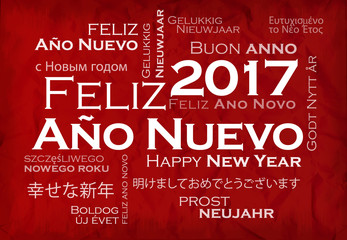 Feliz Año Nuevo 2017 internacional texto traducción nube de etiquetas