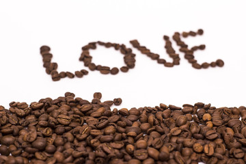 The inscription love coffee bean on white background
