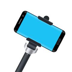 monopod with phone