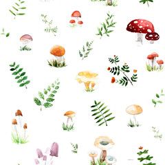 Watercolor pattern with cute and mushrooms leafs in awesome colors. Bright summer concept background.
