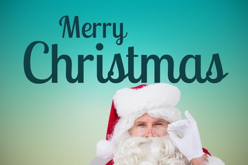 Santa and Christmas Message on Blue Background Design
