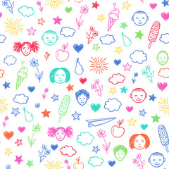 Seamless pattern with happy school children, flowers, sun, stars. Vector colorful background. Doodle drawing.