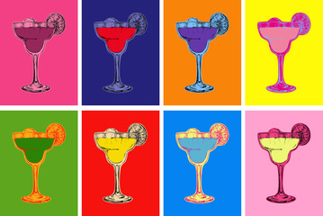Set of Colored Hand Drawn Sketch Margarita Cocktail Drinks Vector Illustration