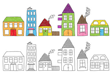 Childish houses drawing