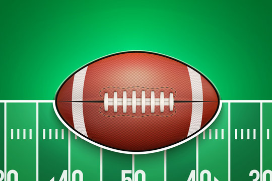 Poster Template with American Football Ball on grass field. Cup and Tournament Advertising. Sport Event Announcement. Vector Illustration.