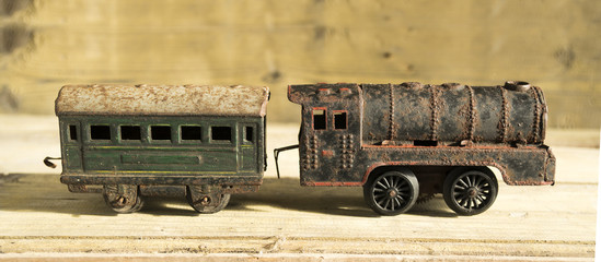Old vintage tin toy steam train