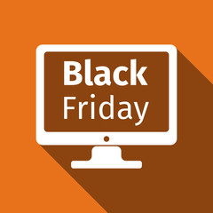 Monitor with Black Friday Sale on screen flat icon long shadow. Vector Illustration