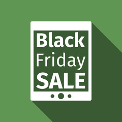 Tablet PC with Black Friday Sale text on screen flat icon long shadow. Vector Illustration