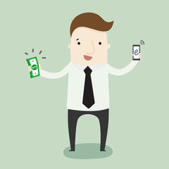 Get money from mobile technology ,vector illustration business cartoon