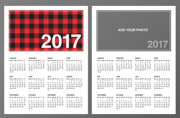 "2017 Calendar Templates: Lumberjack patterned frame & ""Add your own photo"". Week starts on Monday. Editable text font. Printable one page sheet. Red black buffalo check plaid pattern swatch included."