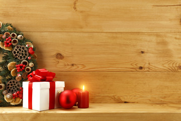gift and wooden background