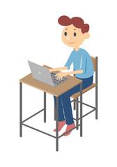 Man using computer, vector