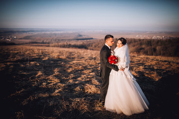 Wedding couple in love. Beautiful bride in white dress and handsome groom in black suite walking together in autumn field.