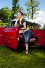 Pinup with Hot rod