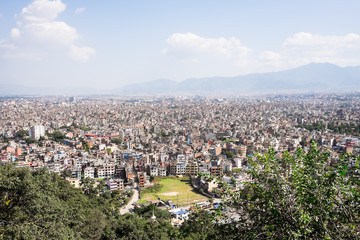Panorama view over Kathmandu city from Swayambhunath temple, Nepal