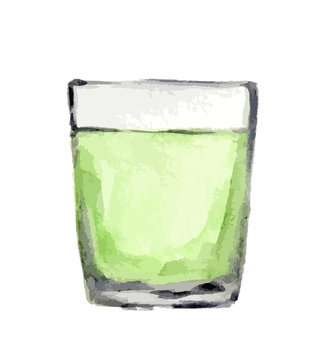 Watercolor alcohol glass with green liquid on white background. Alcohol beverage. Drink for restaurant or pub.