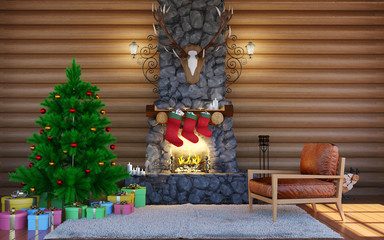Christmas festive decorations. Room interior in log cabin building with stone fireplace. Christmas living room interior