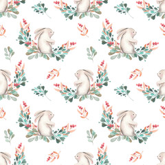 Seamless pattern with watercolor rabbits, green branches and red berries, hand drawn isolated on a white background