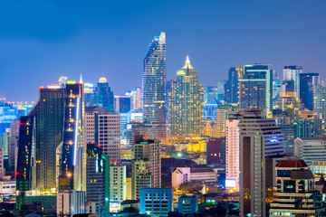 Bangkok city skyline at night.