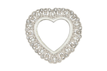 Silver heart picture frame isolated on white with clipping path.