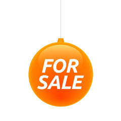 Isolated christmas ball with    the text FOR SALE