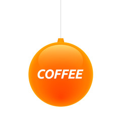 Isolated christmas ball with    the text COFFEE