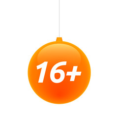 Isolated christmas ball with    the text 16+