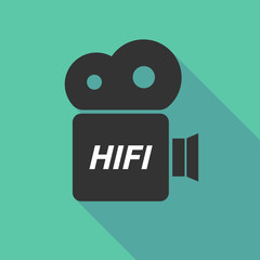 Long shadow camera icon with    the text HIFI