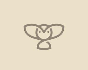 Owl vector logo design. Linear bird creative logotype with shadows