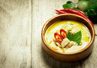 Green curry thai food.