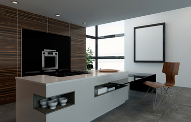 Kitchen counter, oven and chair in fancy kitchen
