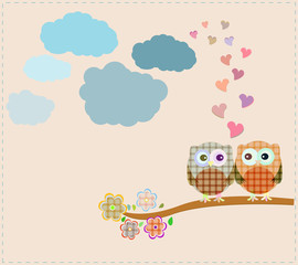 Two owls and love tree sitting on branch