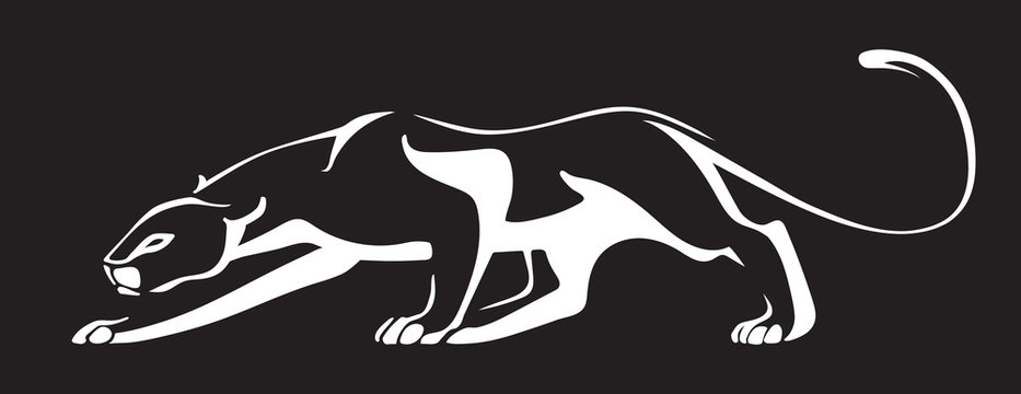 White silhouette of panther on black background.